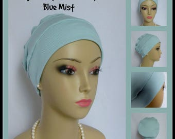 3-seam Misty Blue Cotton Ribbed Knit Chemo Head Wear, Adolescent Cancer Patient Hair Covering, Tichel Mitpachat Cap,Beach Cap, Alopecia Hat
