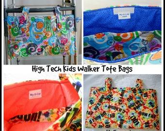 Teen Walker Bag  High Text, Machine Washable Walker Tote Bag, Teen Bed Rail Caddy, Walker Organizer, Special Needs walker tote accessories