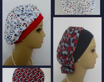 Patriotic Beret Surgical Scrub Cap,Nurse Graduation Gift, Pediatrics Surgical Scrub Hat