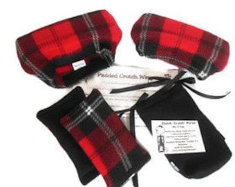 Red Black Plaid Fleece Crutch Pad Hand Grips, Crutch PhoneTote Bag, Toe Warmer Bootie