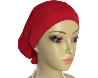 Hair Snood Red Satin Jersey Turban Chemo Headwear, Cancer Patient Hat, Alopecia Head Wear