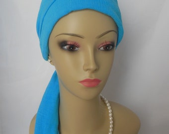 Gauze Scarf Turban Blue Volumizer Chemo Headwear, Cancer Patient Hat, Hair Cover, Tichel