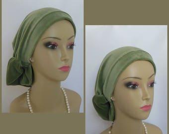 Sage Green Stretch Velour Hair Snood, Tichel, Volumizer Chemo Headwear Extra Length