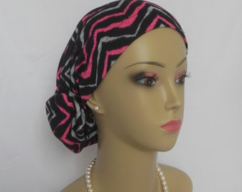 Hair Snood Fuchsia Black Chevron, Teen Adult Volumizer Chemo Headwear, Alopecia Hair Cover