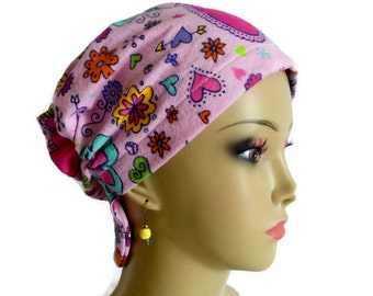 Girl Flannel Hair Snood  Butterflies Rainbows Hearts & Flowers Bling Turban, Child Adult Alopecia Cap, Volumizing Chemo Headwear,Cancer Gift