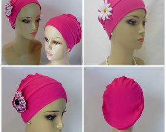3 Seam Ribbed Jersey Turban Pink Fuchsia Chemo Headwear, Cancer Patient Hair Cover