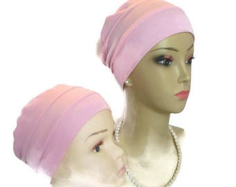 3 Seam Pink Rayon Jersey Turban, Lightweight Chemo Headwear, Cancer Patient Hair Cover Gift, Tichel Mitpachat Cap, Alopecia Adult  Child