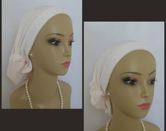 Stretch Pearl Pink Velour Hair Snood,Volumizing Chemo Headwear, Cancer Patient Hat