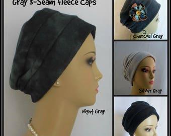 3-seam Gray Black Fleece Turban, Winter Chemo Headwear, Cancer Patient Hair Covering Gift