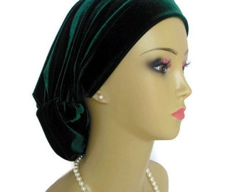 Emerald Green Stretch Velour Hair Snood, Jersey Knit Cancer Patient Hat, Hair Cover,Tichel