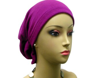 Hair Snood Magenta Sweater Knit Turban Volumizer Chemo Headwear,  Cancer Patient Hat