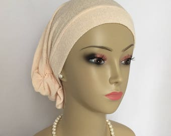 Hair Snood Turban Ivory  Sweater Knit Chemo Headwear, Cancer Patient Hat, Alopecia Tichel Cover