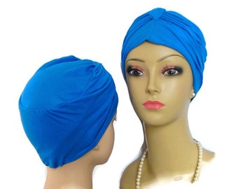 Royal Blue Front Knotted Jersey Turban Chemo Sleep Headwear, Cancer Patient Hat, Hair Covering, Tichel Mitpachat Head Wrap, Yoga Cap Sm-Med
