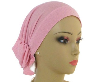 Hair Snood Pearl Pink with Silver Bling Jersey Turban, Volumizer Chemo Headwear, Alopecia