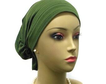 Hair Snood Olive Turban  volumizer Chemo Headwear   Cancer Patient Hat   Hair Covering   Tichel & Mitpachat Head Wrap