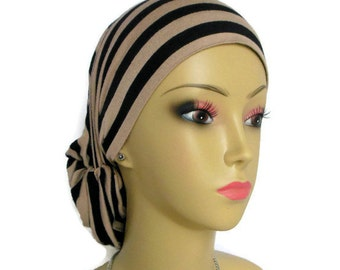 Hair Snood Black Taupe Stripe Jersey Turban  Volumizer Chemo Headwear, Extra Length Cancer Patient Hat, Tichel Mitpachat Hair Cover Reg-XL