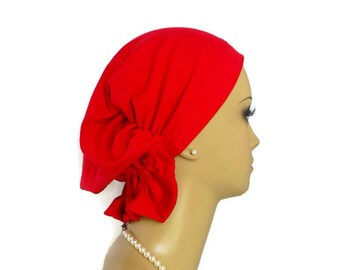 Organic Red Cotton Hair Snood French Terry Knit, Volumizer Chemo Headwear, Cancer Hat Gift