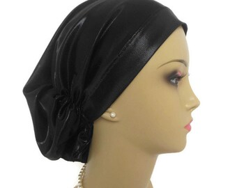 Hair Snood Jersey Turban, Black Satin Chemo Headwear, Cancer Patient Hat Gift, Hair Cover