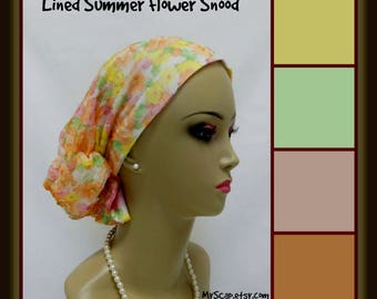 Summer Flowers Hair Snood Viole Jersey Lined Turban, Volumizer Chemo Headwear, Alopecia Cancer Patient Hair Cover, Tichel Head Wrap Med-XL