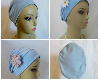 3Seam Jersey Turban Light Blue Chemo Headwear, Cancer Patient Hair Cover, Tichel, Alopecia
