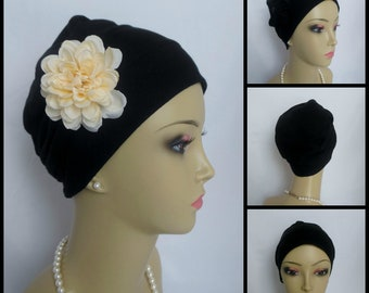 3seam Jersey Turban Cap White Black Chemo Headwear, Cancer Patient Alopecia Hair Cover