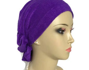 French Terry Cloth Hair Snood Purple Turban Volumizer Chemo Headwear, Cancer Hat Med-Large