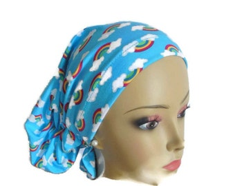Hair Snood Jersey Rainbow Hair Covering, Cancer Patient Hat, Tichel  Mitpachat Head Wrap, Volumizer Chemo Headwear, Child Cancer Head Wear