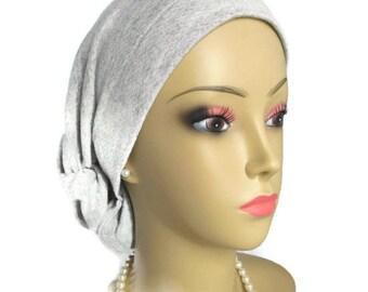 Hair Snood Gray Cotton Jersey Turban, Volumizer Chemo Headwear, Cancer Patient Hat