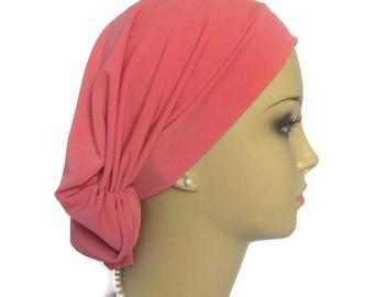 Hair Snood: Coral Rose Satin Jersey Pillbox Turban, Volumizer Chemo Headwear, Alopecia Cap