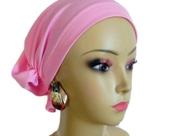 Hair Snood Pink Satin Jersey Turban,  Chemo Headwear, Cancer Patient Hat, Alopecia Cap