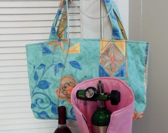 "Oxygen Tank Tote Bag B M9 & C,Teal Tropical Breeze Multipurpose Travel Bag, 6""x11""x4"" Beach Picnic Bag, CAP Oxygen Caddy, Carry-on Lggage"