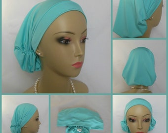 Hair Snood Satin Jersey Tranquil Teal Blue, Volumizer Chemo Headwear, Cancer Turban