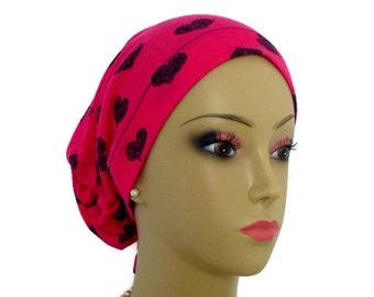 Hair Snood Fuchsia Black Hearts Jersey, Child Adult Volumizer Chemo Headwear, Cancer Patient Hat, Tichel Mitpachat Hair Covering Reg-XL