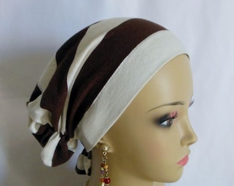 Snood Turban, Wide Fairy Dust Brown Ivory Stripe Volumizer Chemo Headwear, Cancer Patient Hat, Hair Covering, Tichel & Mitpachat  Small