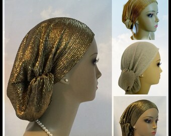 Gold Bling Hair Snood  Headwear, Chemo Headwear, Cancer Patient Hat , Alopecia Hair Cover
