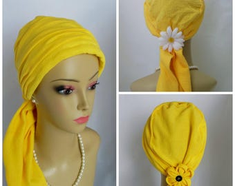 Yellow Gauze Scarf Turban Volumizer Chemo Headwear, Cancer Patient Hat, Tichel Mitpachat