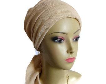 Tan Scarf Turban Gauze Volumizer Chemo Headwear, Cancer Patient Hat, Hair Covering,Tichel