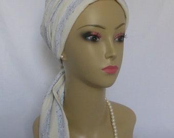 Jersey Scarf Turban Silver Ivory Stripe  Volumizer Chemo Headwear, Tichel, Alopecia Ca[
