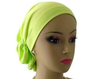 Hair Snoods  Neon Lime Green Satin Turban, Chemo Headwear, Cancer Patient Hat Gift