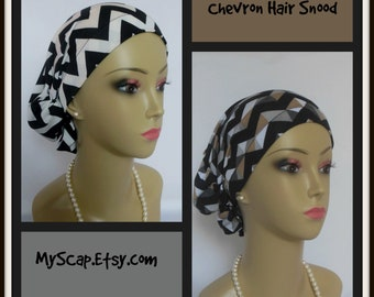 Hair Snood Black White Chevron Jersey Turban, Volumizer Chemo Headwear, Alopecia Head Scarf, Cancer Patent Hat, Summer Tichel Beach Cap,