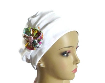 Cotton Knit Turban Cap 3seam: White - Black Jersey Chemo Headwear, Cancer Patient Hair Covering, Tichel Mitpachat Cap, Alopecia Head scarf.