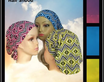 Silky Jersey Hair Snoods, Pink Blue Or Yellow Geometric Scarf Design Turbans, Chemo Volumizer Headwear, Tichel Mitpachat Head Wrap Reg-XL