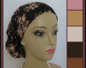 Large Hair Snood  Brown Lace with Pink Flowers Lined Jersey Turban, Chemo Headwear