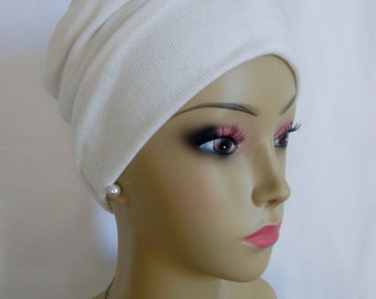 Front Knotted White Ribbed Jersey Turban Chemo Headwear, Alopecia Hair Cover, Tichel Mtipachat Head Wrap, Yoga Cap, Beach Cap Large- Ex Lg