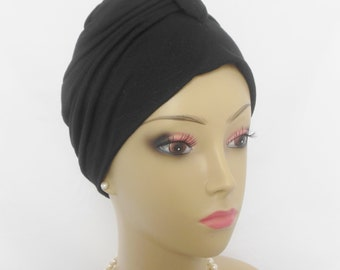LARGE Sleep Turban; Front Knotted Black Linen Design Jersey Chemo Headwear, Alopecia Head Wear, Yoga Cap, Tichel Mitpachat Wrap, Beach Cap,