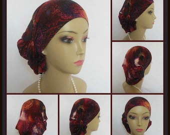 Hair Snood Shades Maroon to Pink with Navy & Black Accent,Turban Chemo Headwear, Alopecia Cap, Tichel