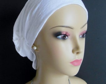 Hair Snood Jersey White Linen, Volumizer Chemo Headwear, Alopecia Head Scarf, Alopecia