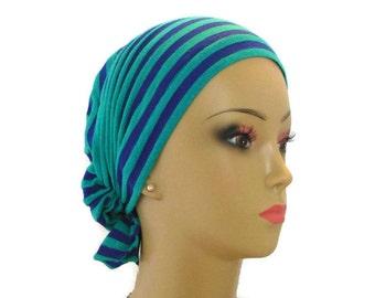 Large Hair Snood Persian Blue Teal Stripe Jersey Turban, Volumizer Chemo Headwear