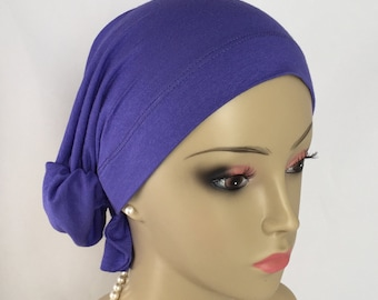 Hair Snood Jersey Turban Muted Purple Volumizer Chemo Headwear, Cancer Patient Hat, Tichel