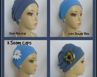 3-Seam Blue Jersey Knit Turban Chemo Headwear, Cancer Patient Hair Cover, Tichel Mitpachat